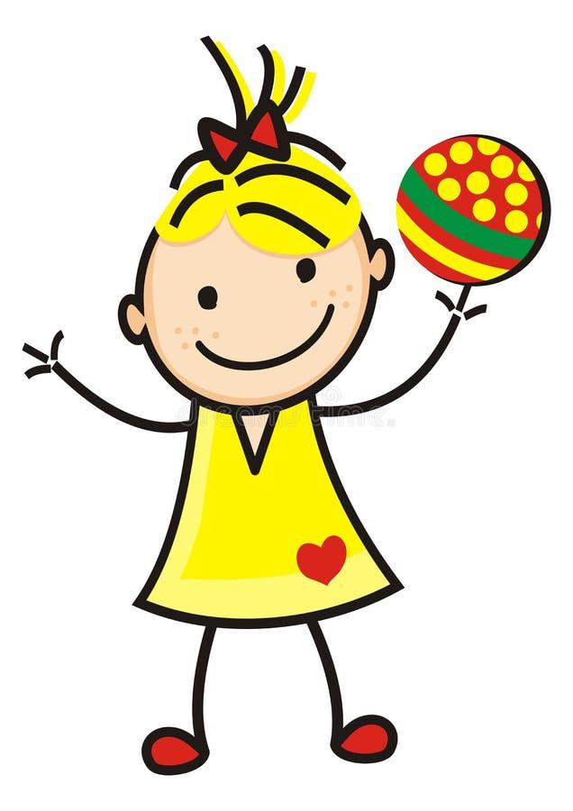 Flicka och boll, diagram, rolig symbol för vektor royaltyfri illustrationer