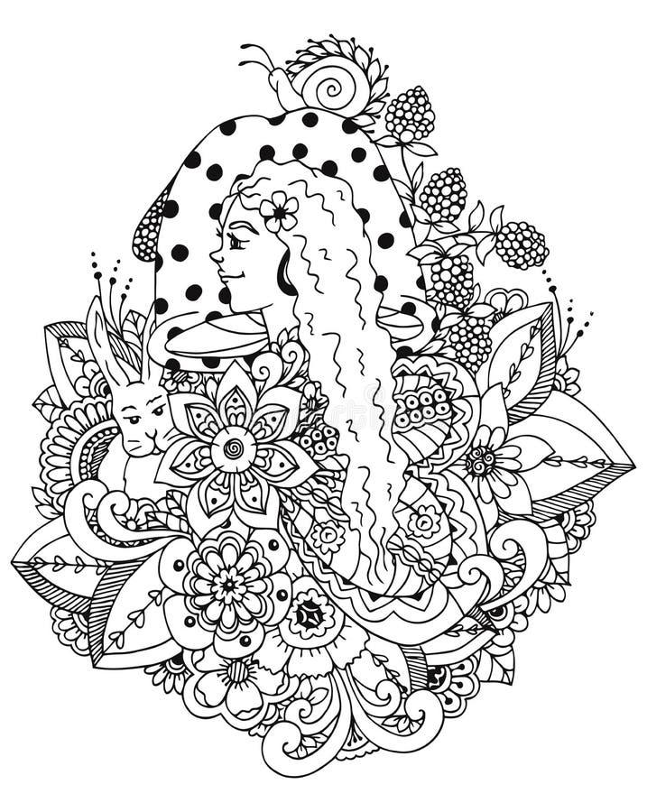 Flicka och champinjon för vektorillustrationzentangl i blommorna Vektor EPS 10 Meditativa övningar Anti-färgläggningbok royaltyfri illustrationer