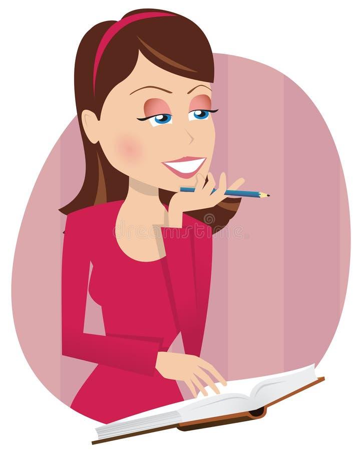 Flicka och dagbok stock illustrationer