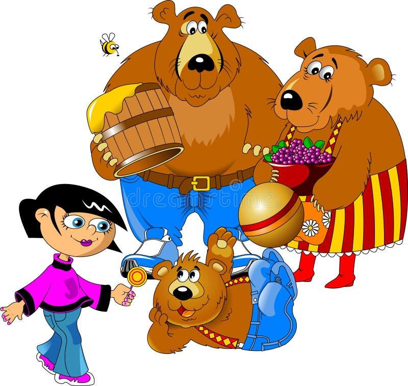 Flicka och de tre björnarna royaltyfri illustrationer