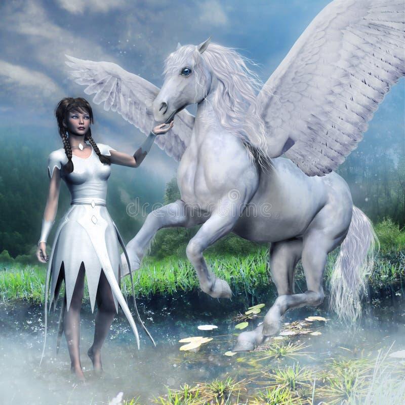 Flicka och en vit bevingad häst royaltyfri illustrationer