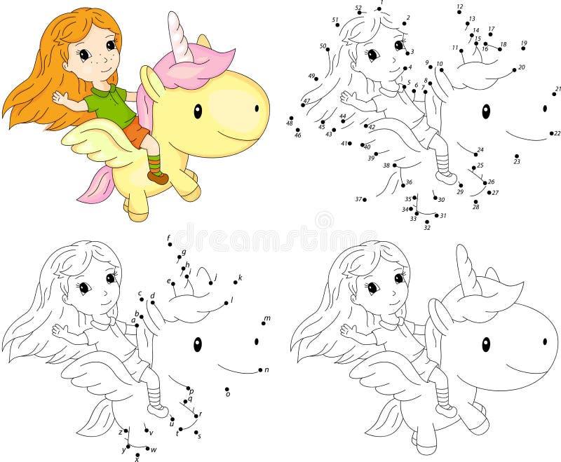 Flicka och enhörning Färgläggningbok och prick som pricker leken för ungar stock illustrationer