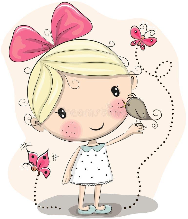 Flicka och fågel stock illustrationer