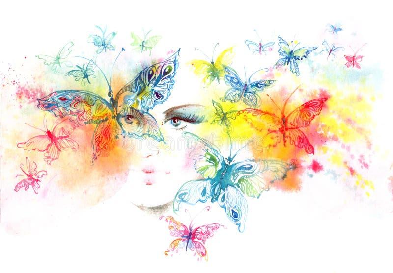 Flicka och fjärilar stock illustrationer