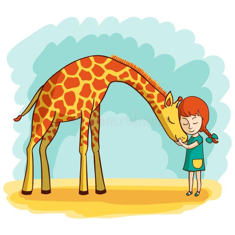 Flicka och giraff royaltyfri illustrationer