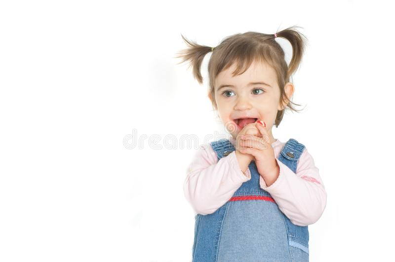 Flicka och godis arkivfoton