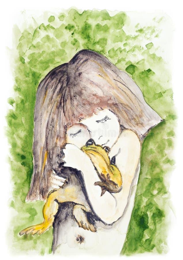 Flicka och groda stock illustrationer