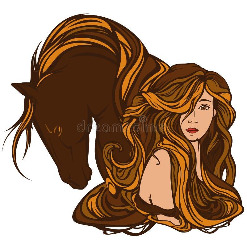 Flicka och häst stock illustrationer