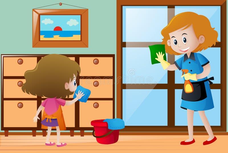 Flicka och hembiträde som gör ren huset vektor illustrationer