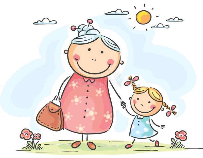 Flicka och hennes farmor på en gå vektor illustrationer