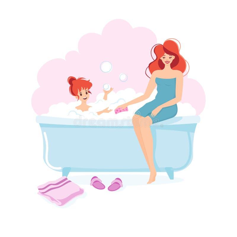 Flicka och hennes mamma som tar ett bad stock illustrationer