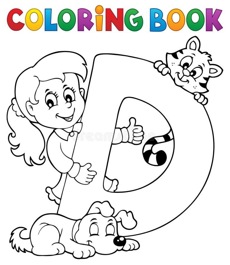Flicka och husdjur genom brev D för färgläggningbok stock illustrationer