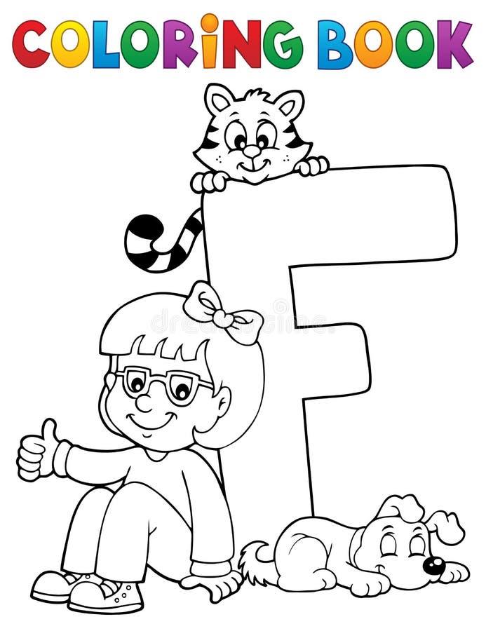 Flicka och husdjur genom brev F för färgläggningbok royaltyfri illustrationer