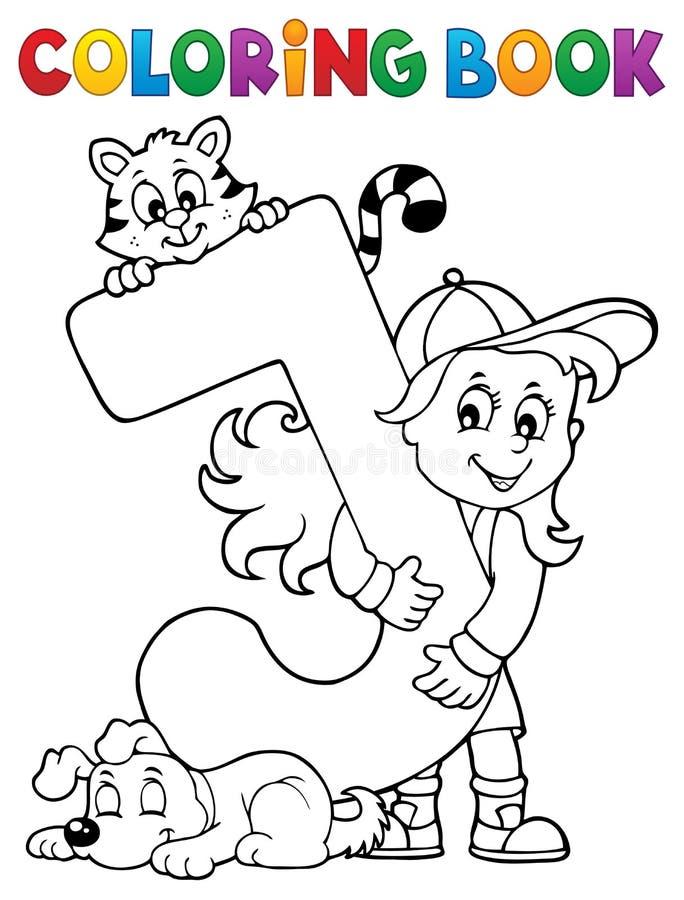 Flicka och husdjur genom brev J för färgläggningbok vektor illustrationer