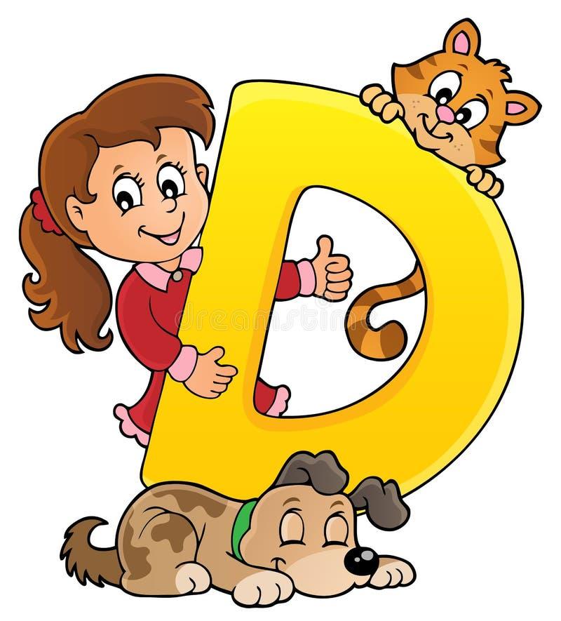 Flicka och husdjur med bokstav D royaltyfri illustrationer