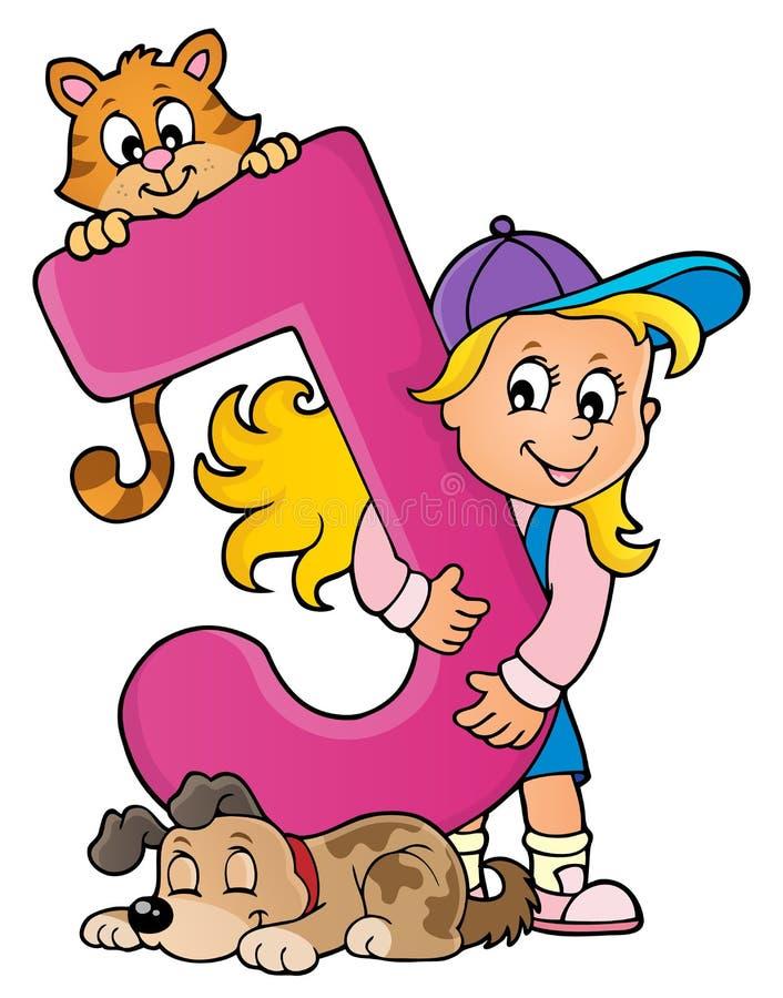 Flicka och husdjur med bokstav J royaltyfri illustrationer