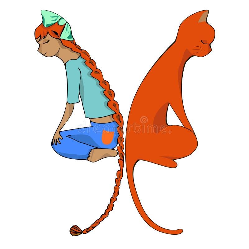 Flicka och katt vektor illustrationer