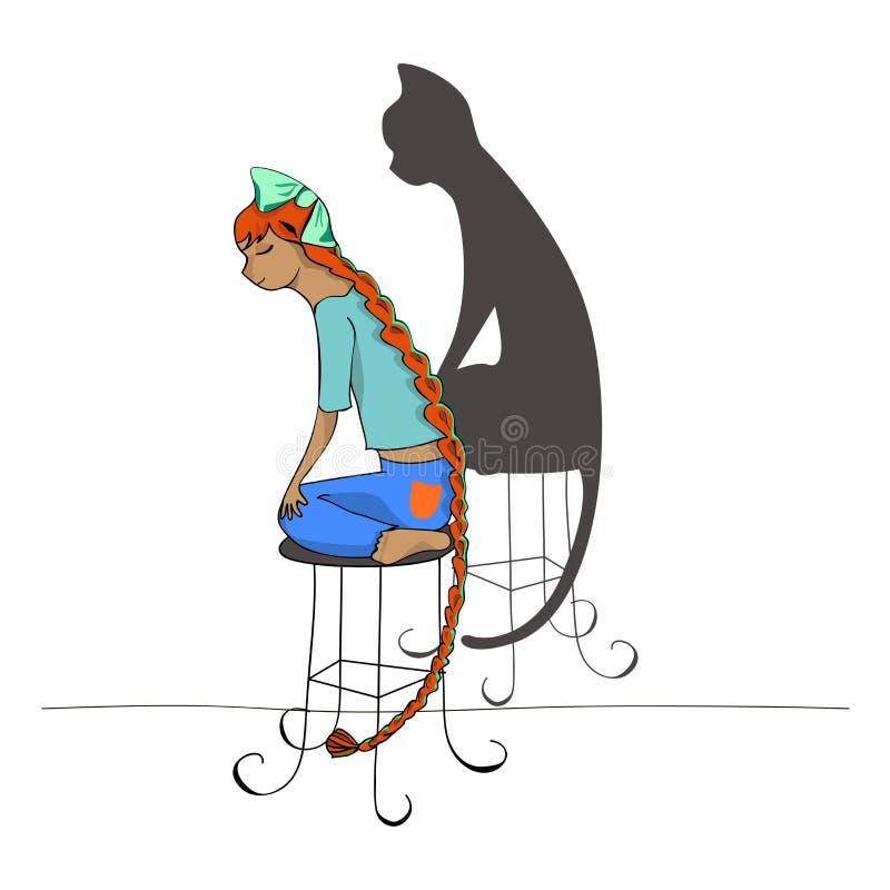 Flicka och katt stock illustrationer