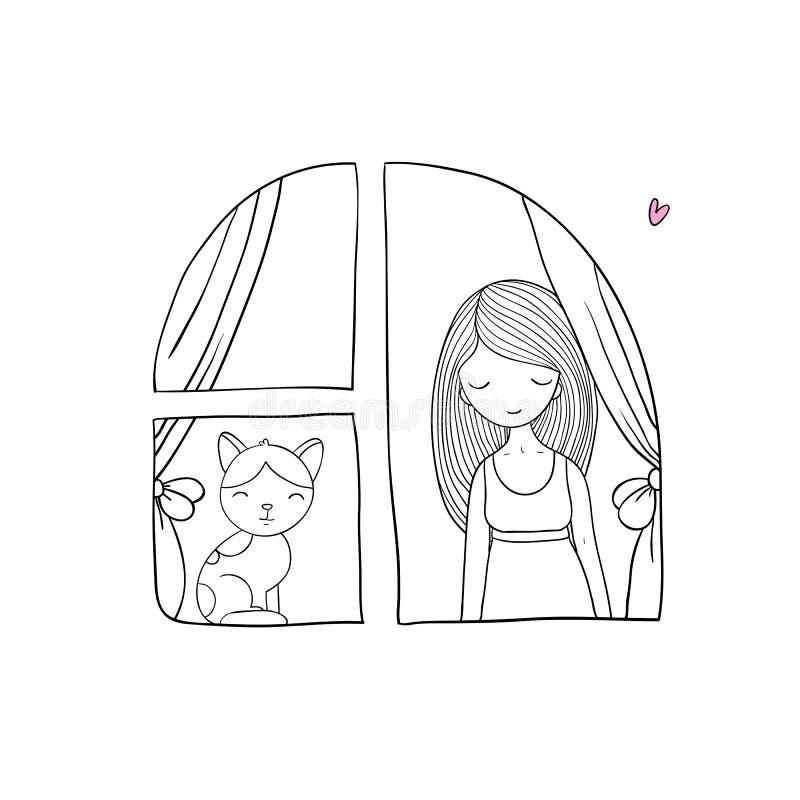 Flicka och katt på fönstret vektor illustrationer
