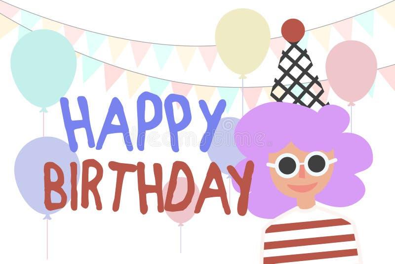 Flicka och lycklig födelsedag vektor för valentin för ferie mogen s för bakgrundsCherrydag Ballonger och partiflaggor stock illustrationer