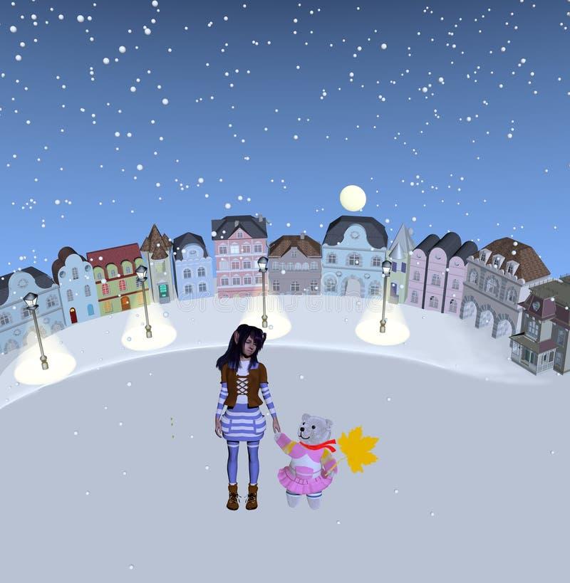 Flicka och nallebjörn som står i snöig ställe royaltyfria bilder