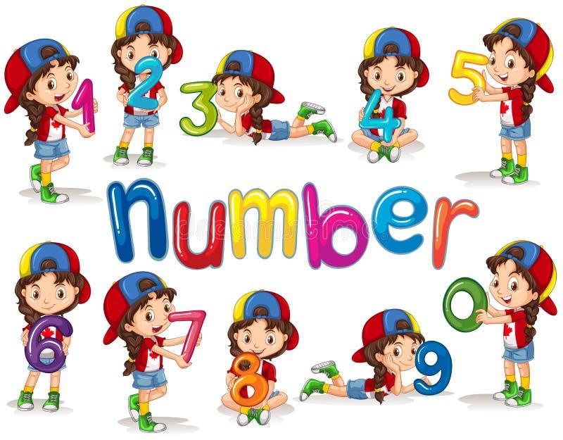 Flicka och nummer noll till nio royaltyfri illustrationer
