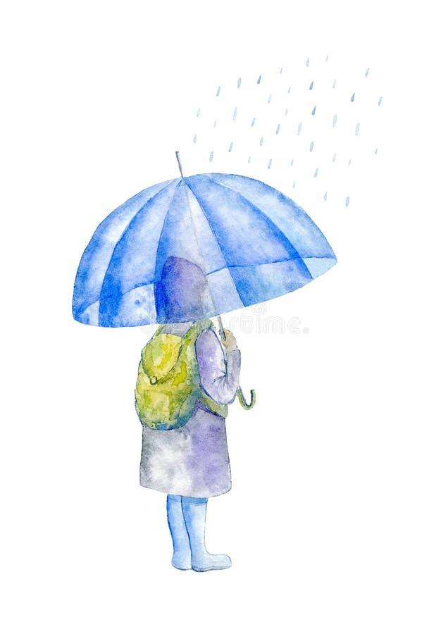 Flicka och paraply regn Barnkontur stock illustrationer