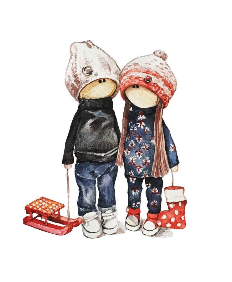 Flicka och pojke royaltyfri illustrationer