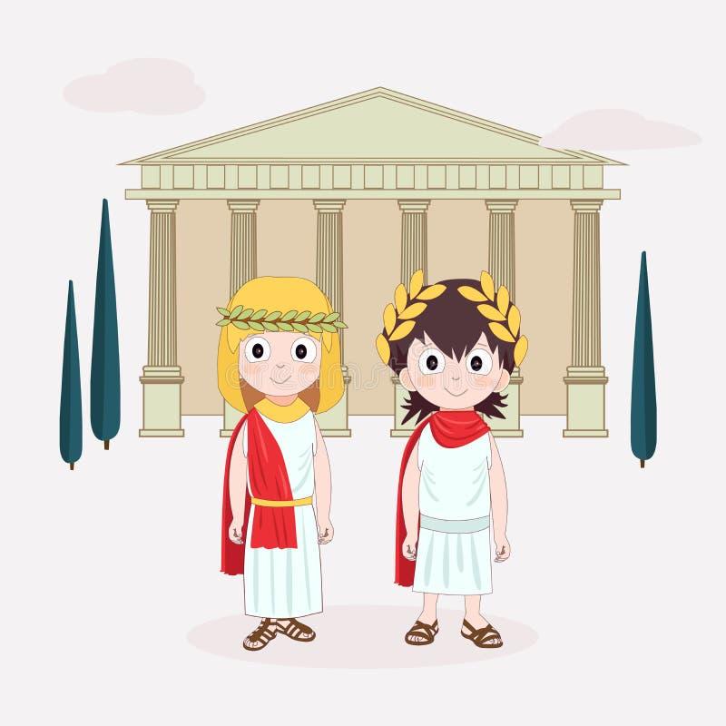 Flicka och pojke f?r tecknad filmtecken som b?r den forntida dr?kten Forntida Rome f?r barn Vektorillustration med templet och tr stock illustrationer