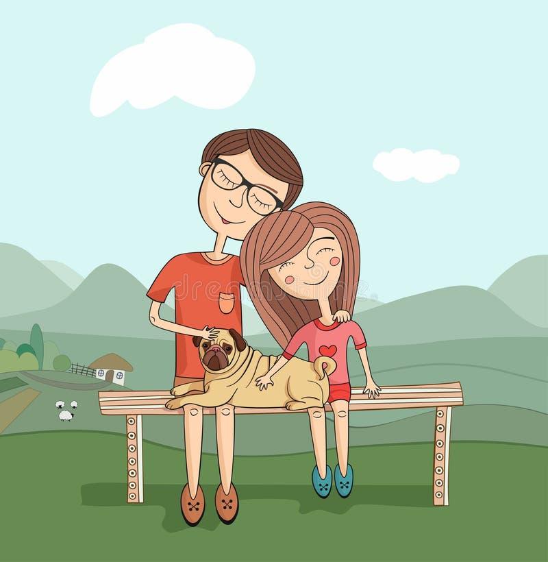 Flicka och pojke med mops stock illustrationer