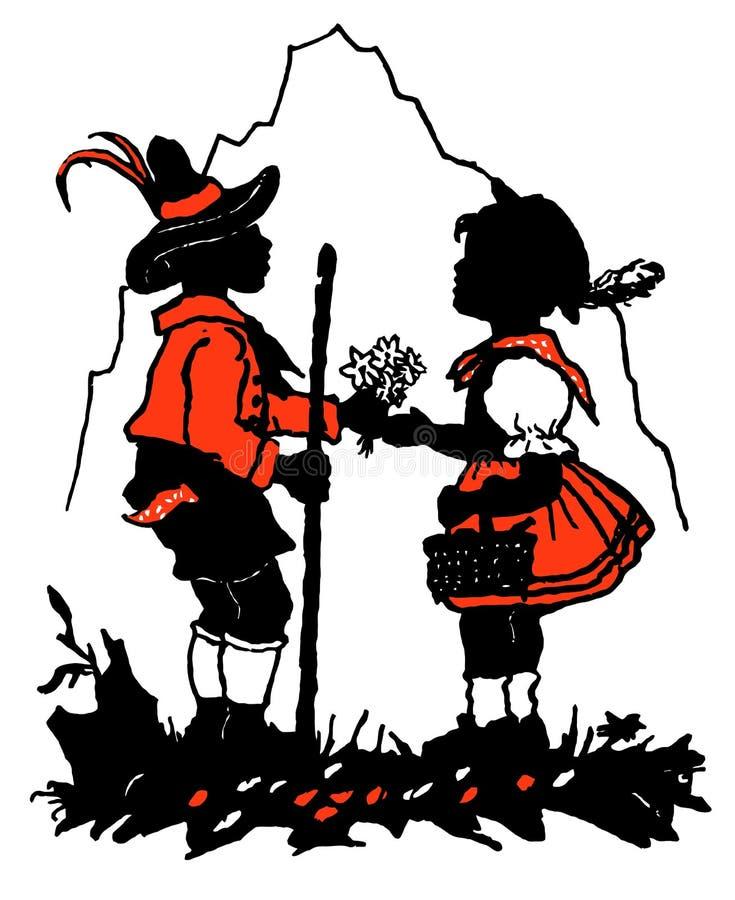 Flicka och pojke på naturen stock illustrationer