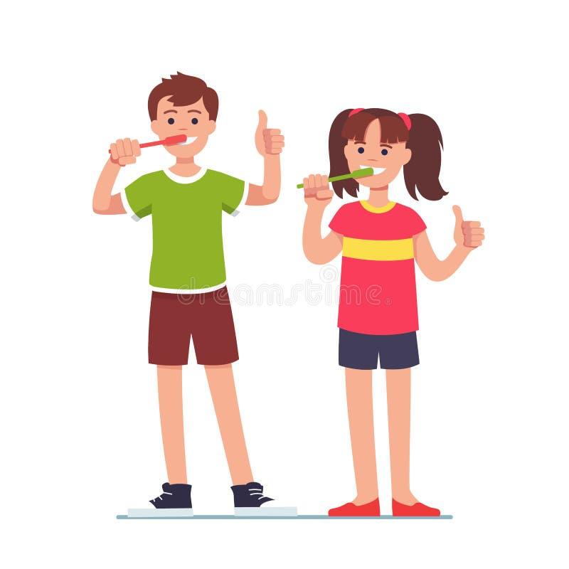 Flicka och pojke som borstar tänder med tandborstar stock illustrationer