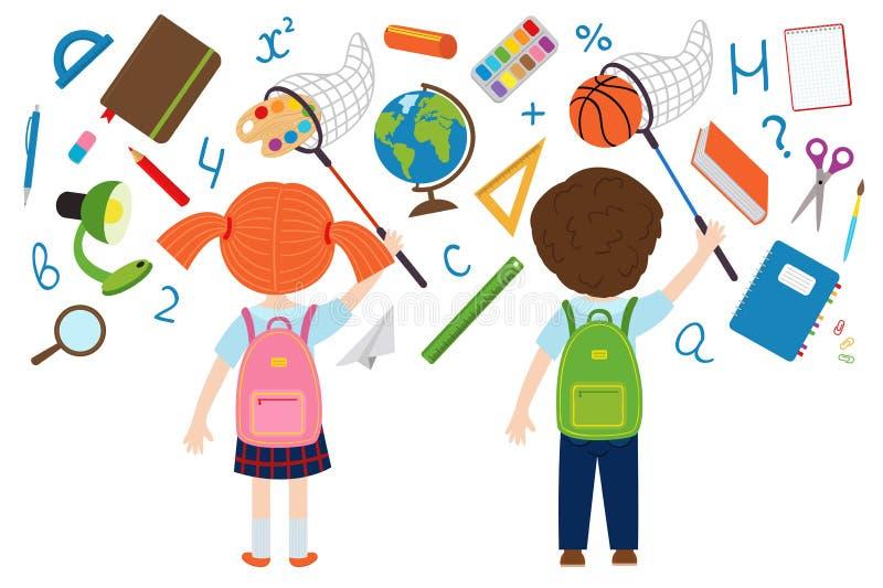 Flicka- och pojkelås av skolatillförsel vektor illustrationer