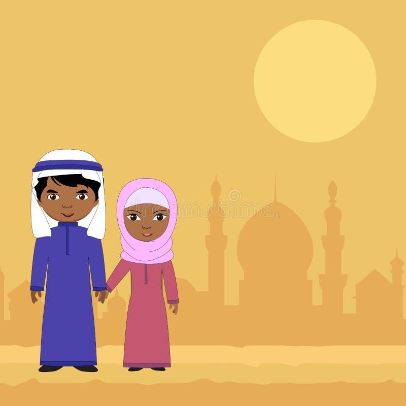 Flicka- och pojkesammanträde på en bakgrund av den muslimska staden stock illustrationer