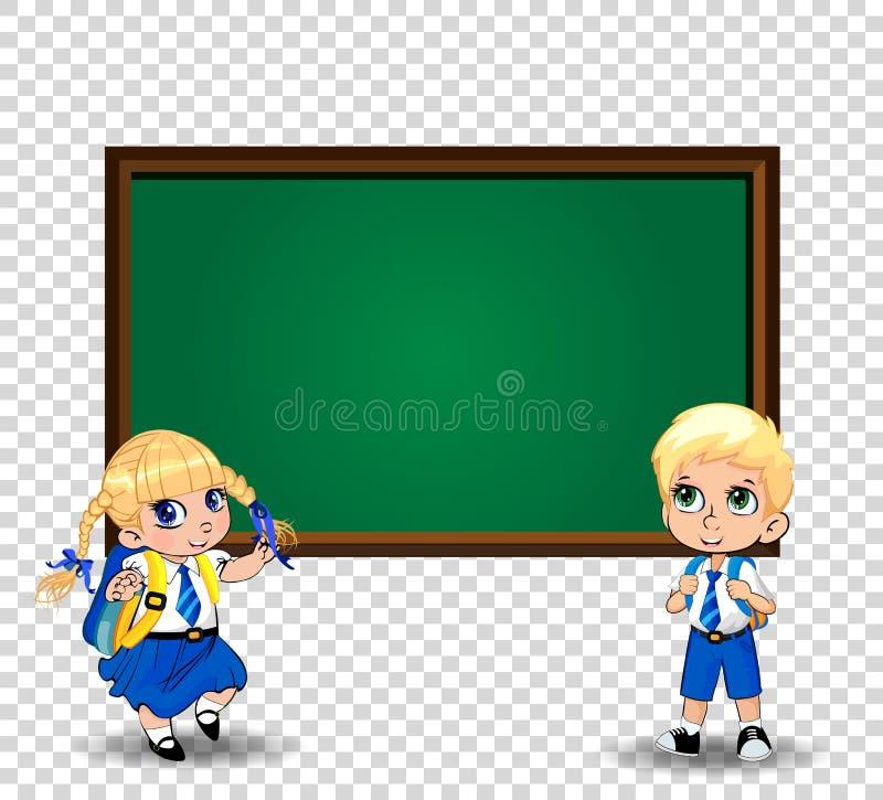 Flicka- och pojkeskolbarn, elever i enhetlig stående near svart tavla med kopieringsutrymme vektor illustrationer