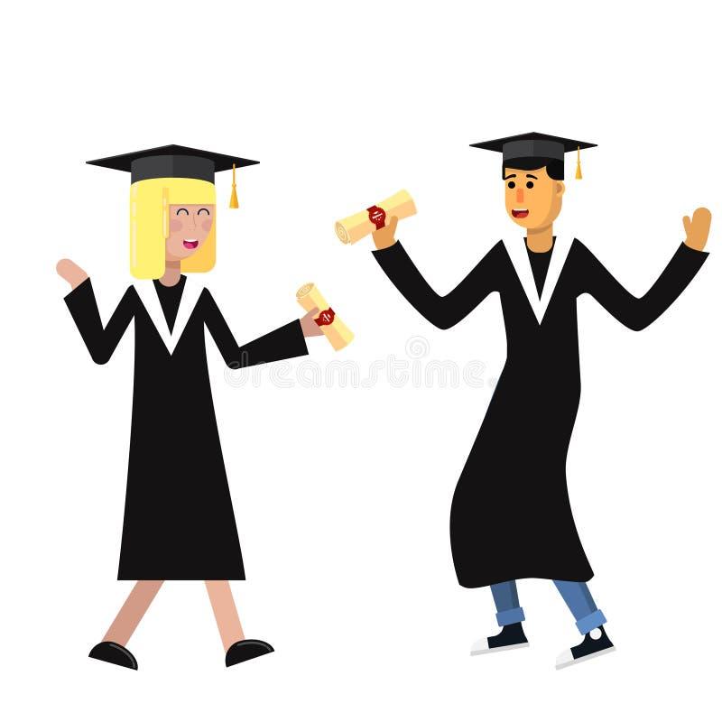 Flicka- och pojkestudenter i akademisk kappa och lock mottog ett diplom och jublar den plana illustrationen f?r vektorn vektor illustrationer