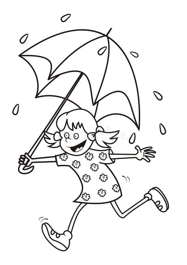 Flicka och regn som färgar vektor illustrationer