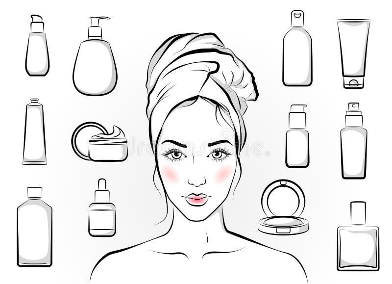 Flicka och skönhetsmedel vektor illustrationer
