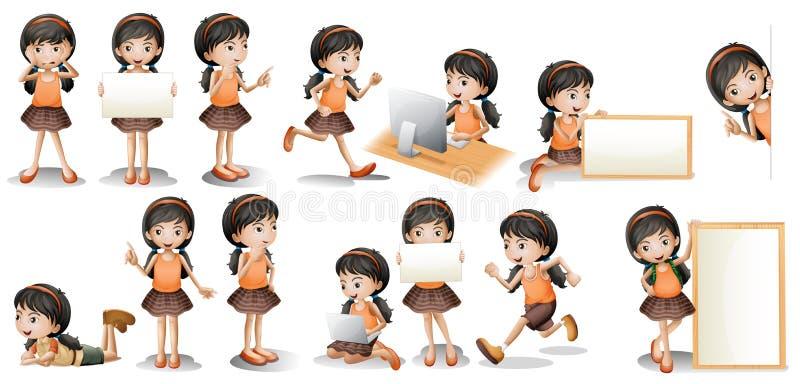 Flicka och tecken vektor illustrationer