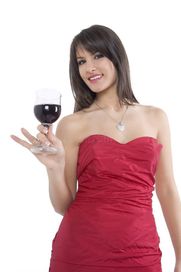 Flicka och wine fotografering för bildbyråer
