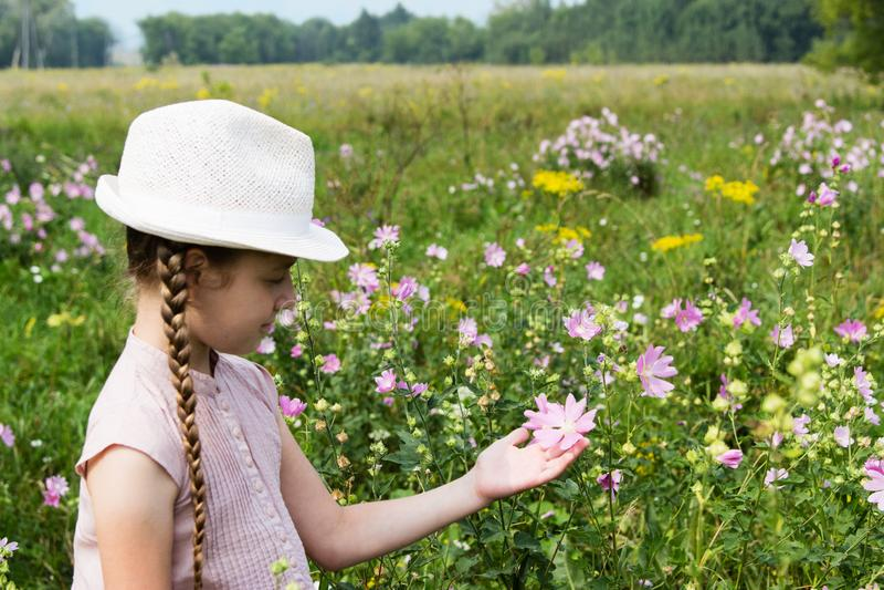 Flicka på ängen med blommor royaltyfria bilder