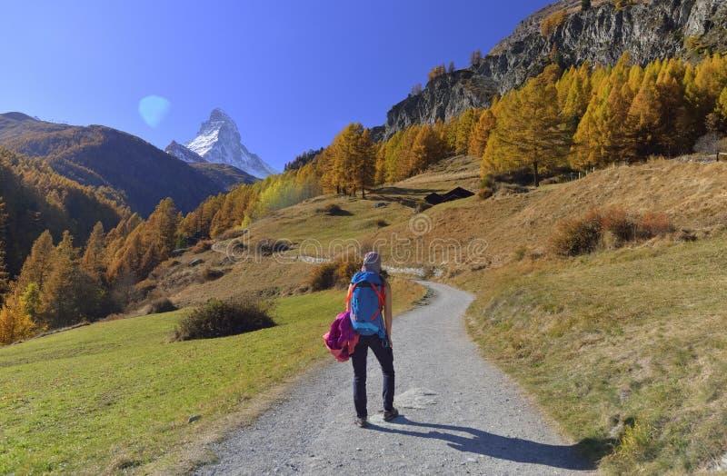 Flicka på att fotvandra slingan och höstplats i Zermatt med det Matterhorn berget i bakgrund royaltyfria foton