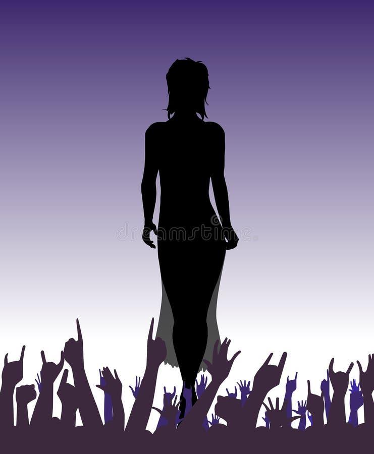 Flicka på catwalken med händer vektor illustrationer