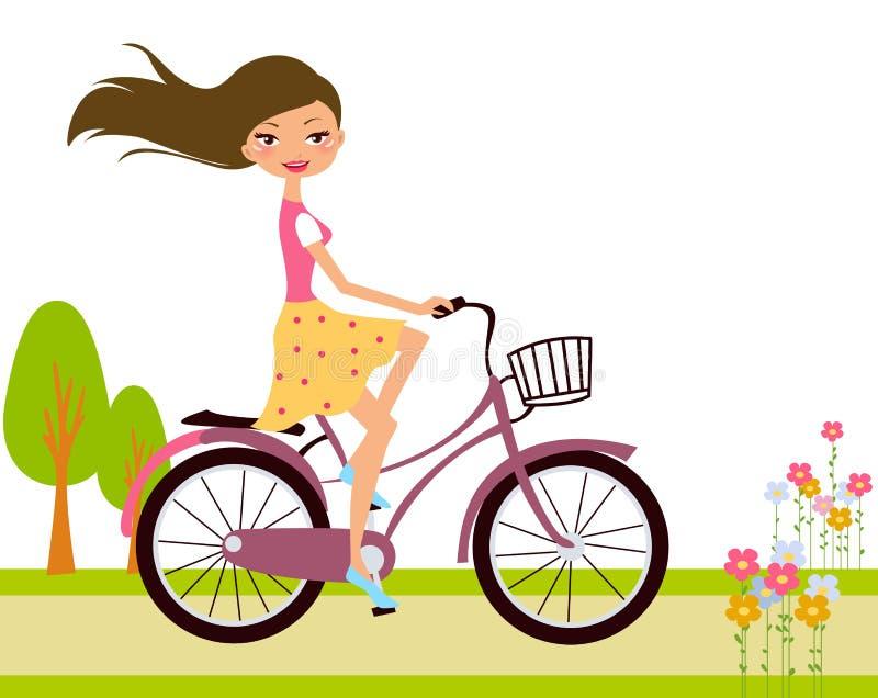 Flicka på cykeln royaltyfri illustrationer