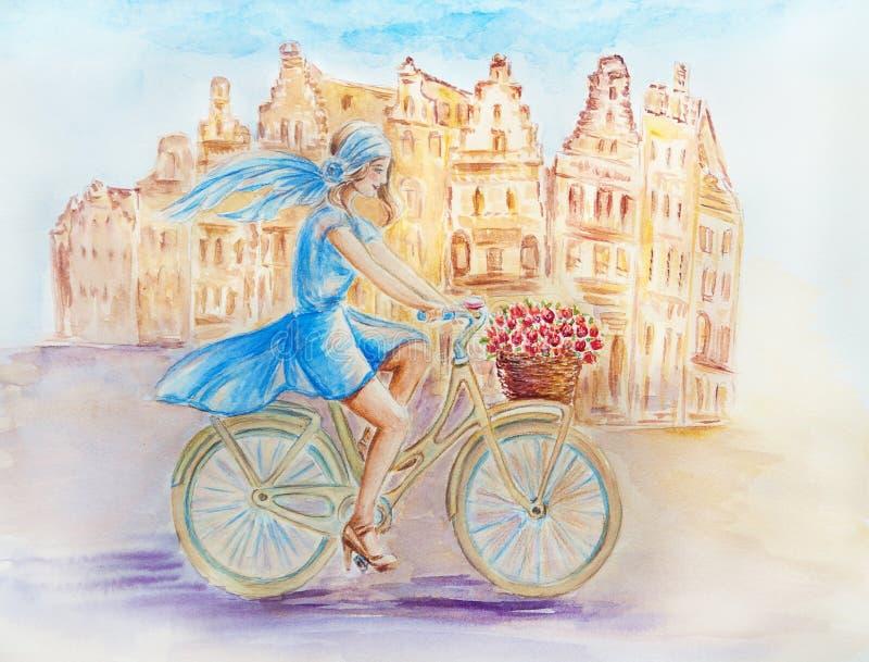 Flicka på cykeln stock illustrationer
