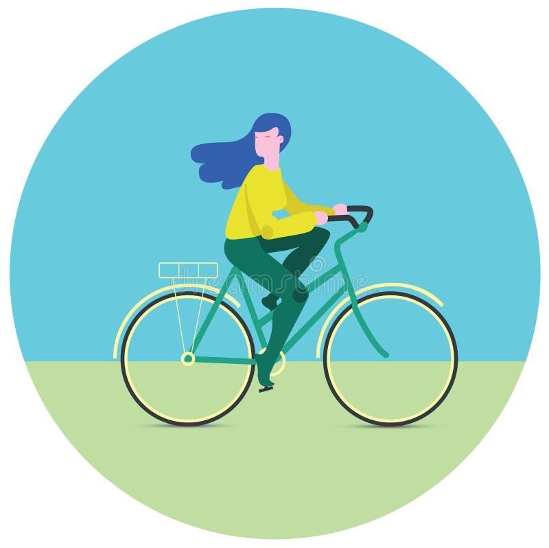 Flicka på cykeln gears symbolen royaltyfria foton