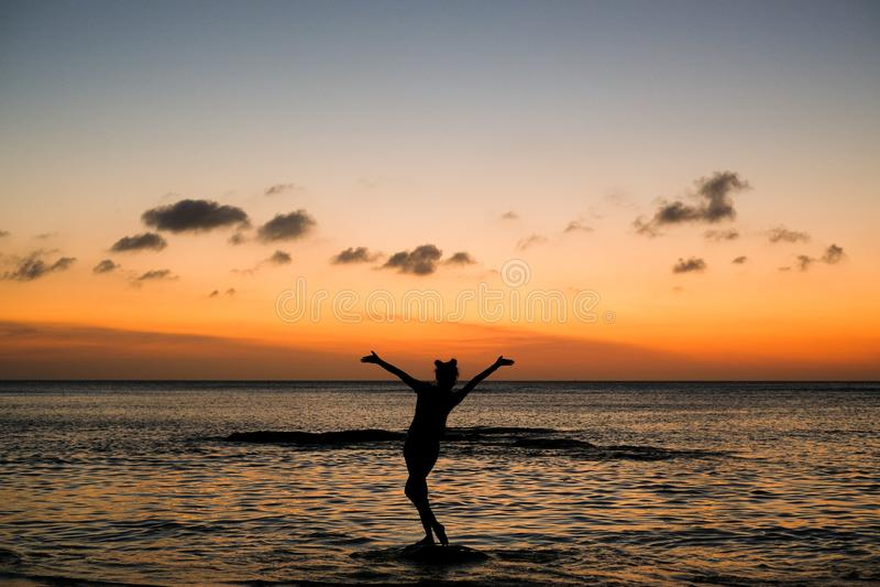 Flicka på den guld- solnedgången arkivbild
