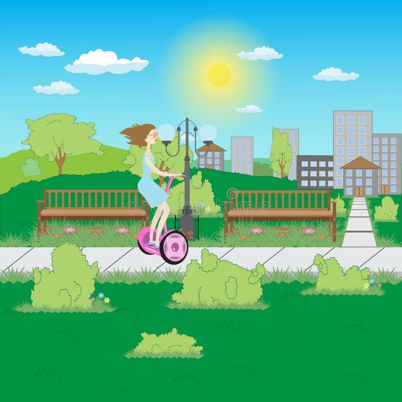 Flicka på en elektrisk sparkcykel i parkera royaltyfri illustrationer