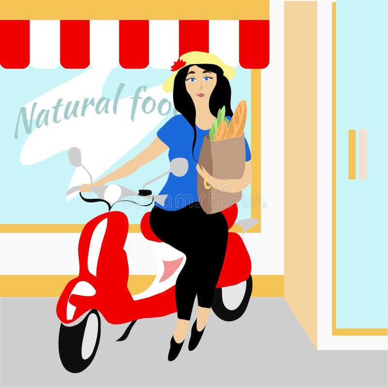 Flicka på en röd sparkcykel royaltyfri illustrationer