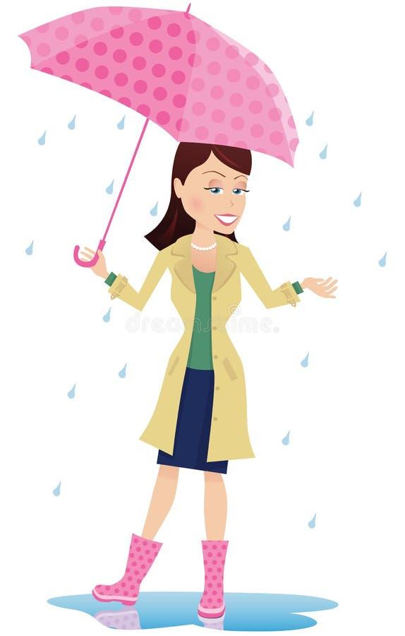 Flicka på en regnig dag stock illustrationer